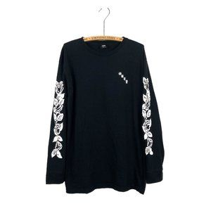 Obey Propaganda Long Sleeve Top Graphic Black Roses Floral